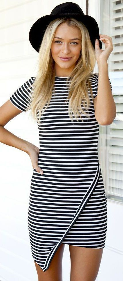 Striped Wraped Bodycon Dress - Jassie Line