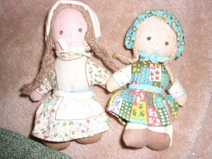 Vintage old mini holly hobby doll lot set hobbie carrie rag cloth toy blue