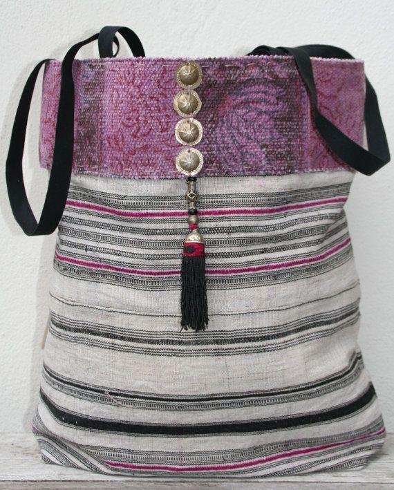 Hmong hemp tote bag met tribal details by KussenvanPaula on Etsy