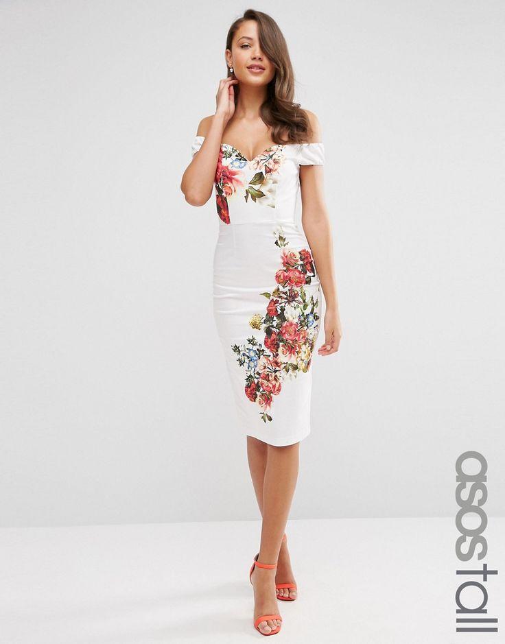 ASOS+TALL+Bardot+Off+Shoulder+Hitchcock+Dress+in+Vintage+Placed+Floral