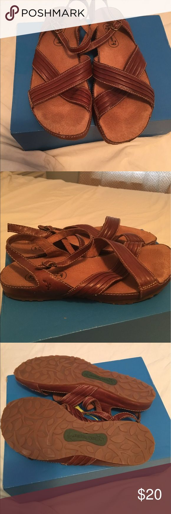 Brown hurache style sandals (Hush Puppy) Brown leather straps, Hushpuppy brand, worn maybe 3x, slight wear in bedding (see pic). Super comfortable, worn during last month of pregnancy. Hush Puppies Shoes Sandals