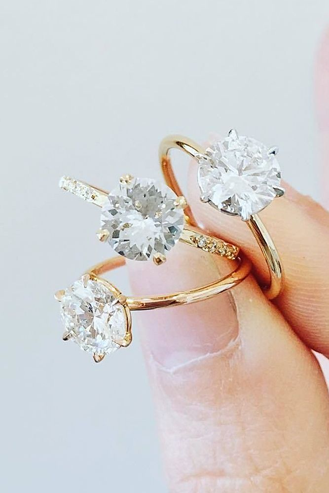 Single Stone Engagement Rings from Natalie Marie Jewelry in Classic Gold