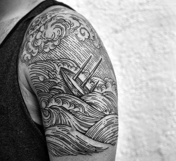 25 best ideas about quarter sleeve tattoos on pinterest for Sinking ship tattoo
