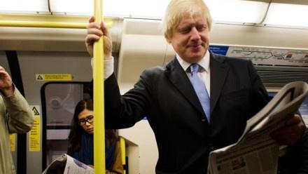Mayor of London Borris Johnson on a District line train.