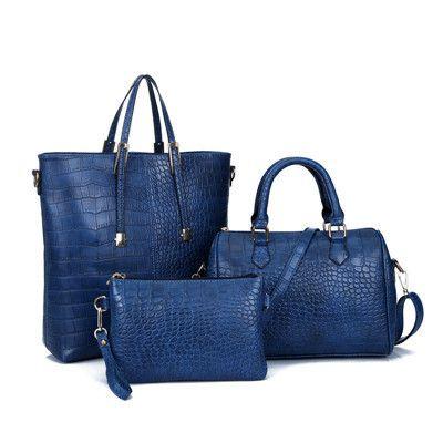 3Pcs Luxury Alligator Crocodile Women Leather Handbag Set Famous Brand Women Shoulder Bags Ladies Handbags Purse Clutch Bag Gold