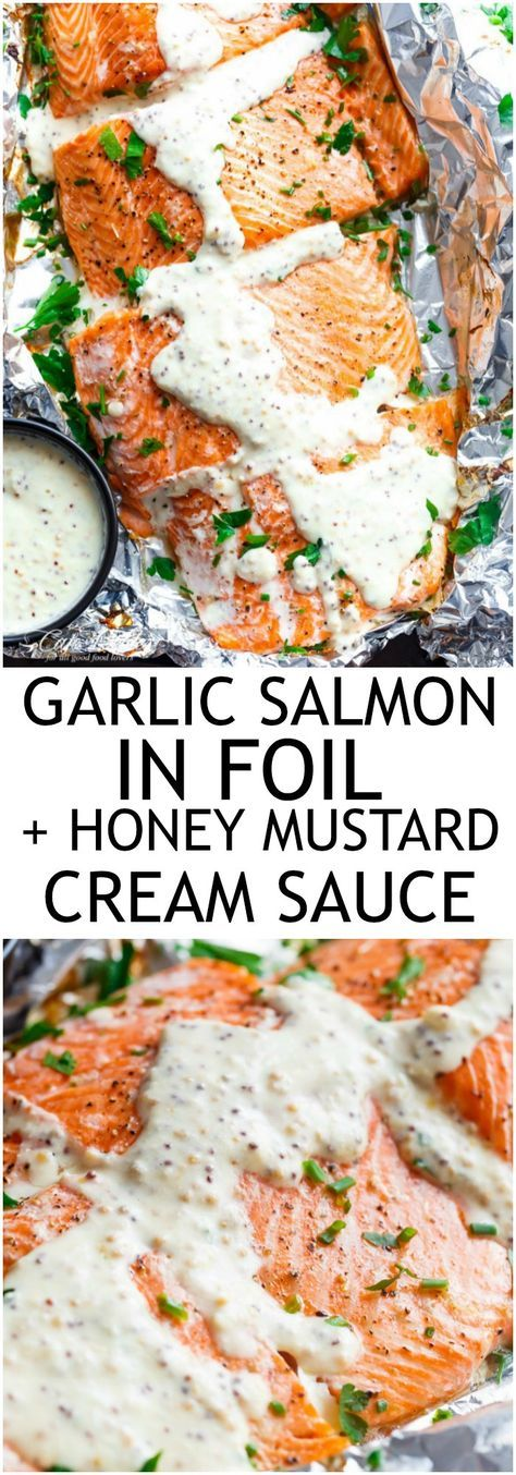 Foil Baked Garlic Salmon With A Thick And Creamy Honey Mustard Cream Cheese…