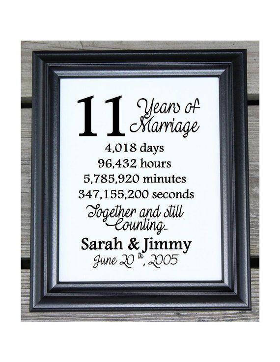 11th Wedding Anniversary Cotton Print 11th Wedding Gift 11