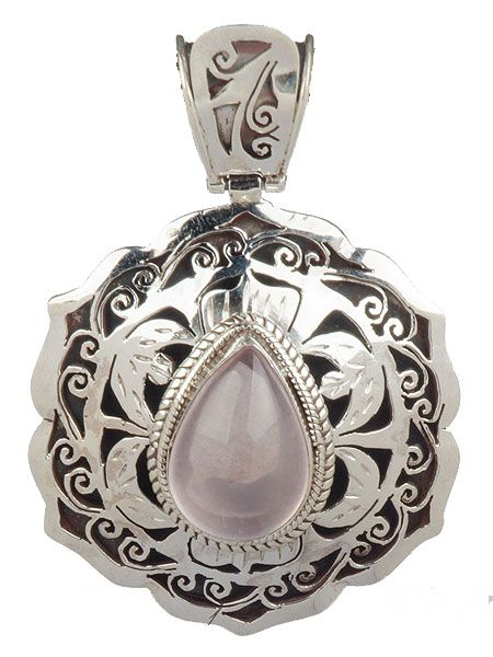 Stunning semi precious stone silver pendant which has been crafted by hand in Kathmandu, Nepal. Rose quartz Weight 21 grams 5.5cm x 3.5cm