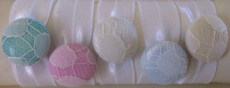 Mint Green, Strawberry Pink, Cloud White, Sky Blue and Lemon Yellow on White elastic $4 each.