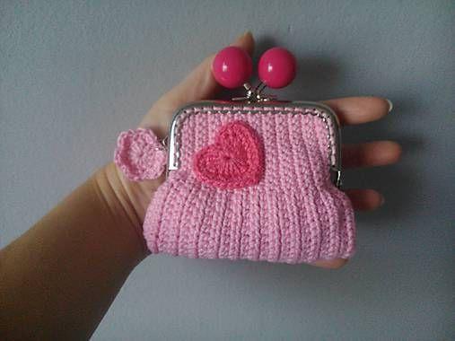 Crochet coinpurse kaizerka / Peňaženka srdiečko