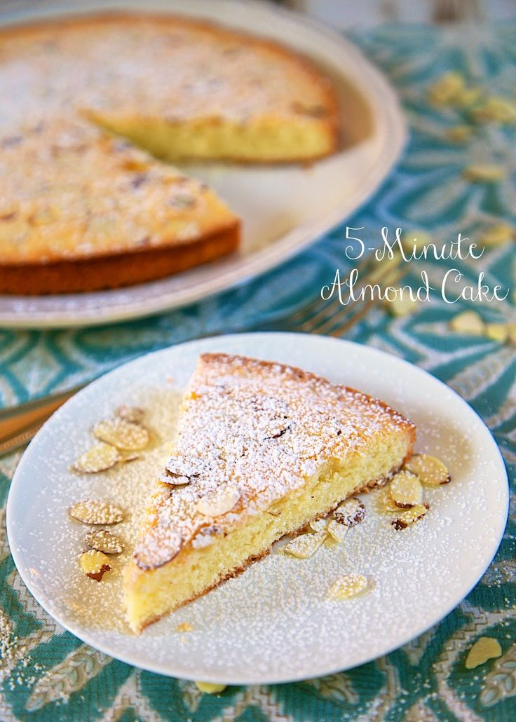 5-Minute Almond Cake Recipe - quick and delicious almond cake - only takes 5 minutes to make! It was ready before the oven preheated!! Great with a nice cup of coffee.
