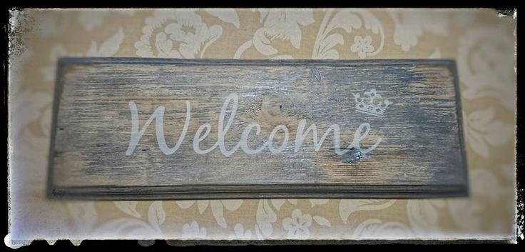 #welcome schild von mikee-online.ch im #shabbychic style