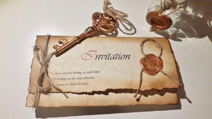 Wedding invitations rustic,medieval,castle style,vintage,old,style,wax stamp,burned edges