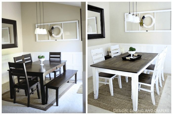 Farmhouse dining table and chairs makeover ideas before and after. Visit site to get other ideas...
