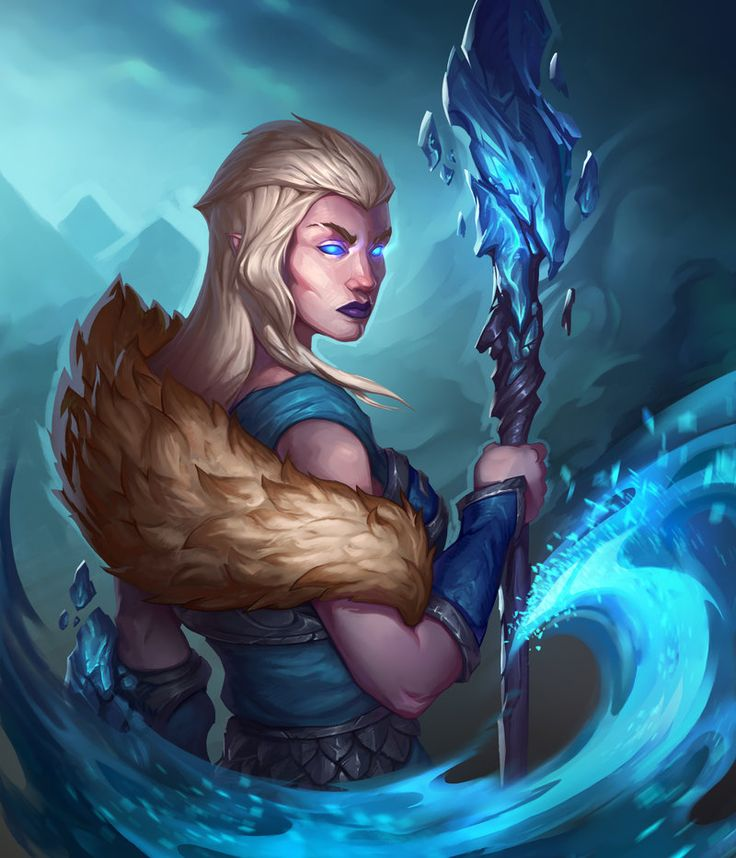 Frost mage #Digital 2D#Fantasy#Game Art#Illustration#mage#ice#blizzard#woman#snow queen#frozen