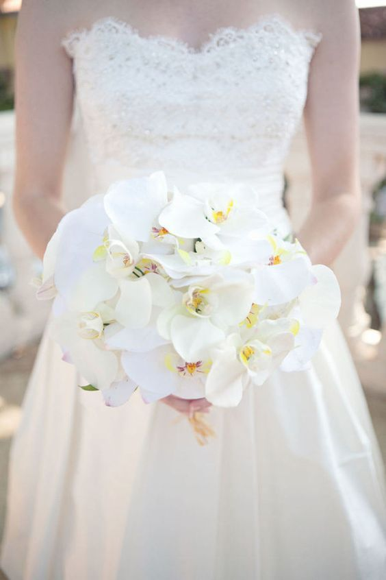 Glam White Orchid bouquets inspired by Sofia Vergara's: http://www.stylemepretty.com/2015/11/22/sofia-vergaras-orchid-wedding-bouquet/: