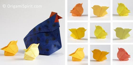 Origami Chicken -It's a chick and it's a box! Perfect for Easter #origamichicken #origamibox #origamihen