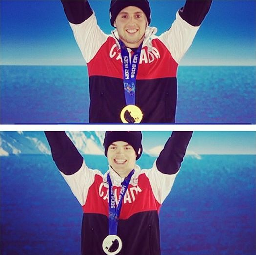 Alex Bilodeau and Mikael Kingsbury on the podium with their medals.