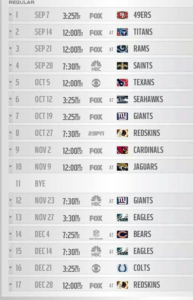 Dallas Cowboys 2014 Schedule