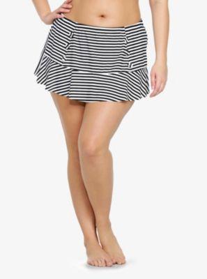 Striped Button Front Swim Skirt