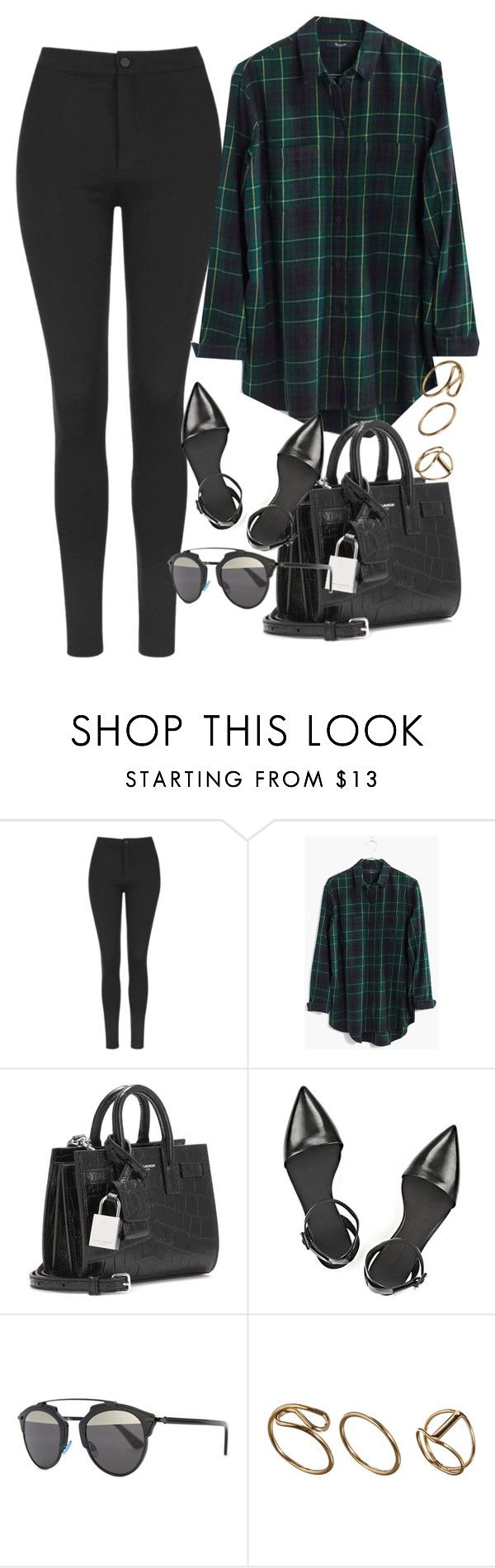 """""""Untitled #3291"""" by glitter-the-world ❤ liked on Polyvore featuring Topshop, Madewell, Yves Saint Laurent, Alexander Wang and Christian Dior"""