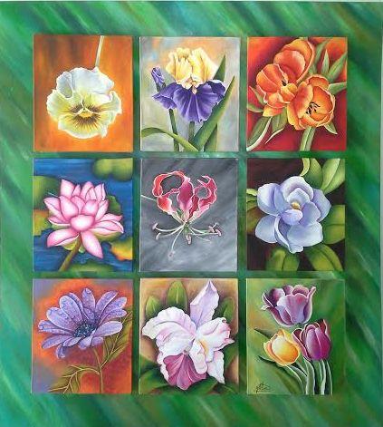 Pintura  de flores en tela sobre madera, acrílicos.