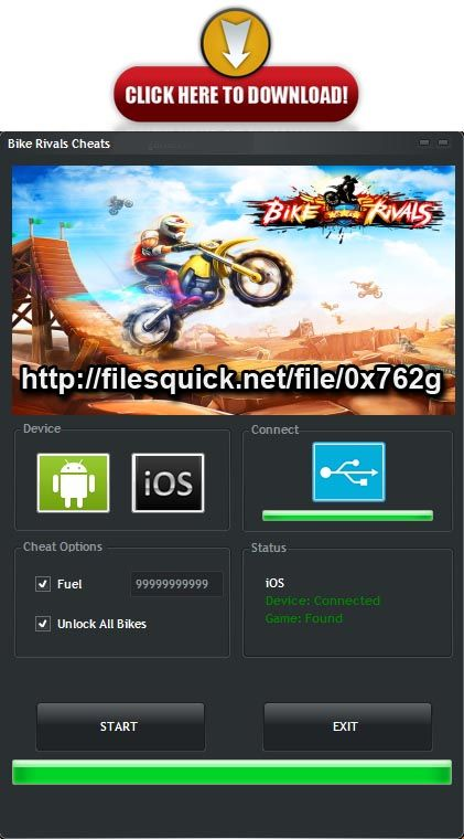 Download Link:  http://filesquick.net/file/0x762g   Select Bike Rivals Cheats Features and press 'Hack Game' button. 2141 Bike Rivals Hack Tool Unlock ALLWait a while – the application will hack the game. 2141 Bike Rivals Hack Tool Unlock ALLEnjoy playing with new, amazing features!
