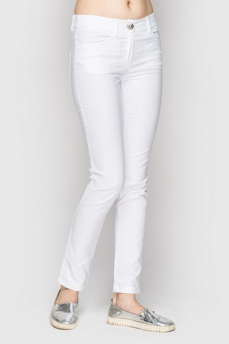 Milky narrowed denim jeans 33$. #Pants are in the white shades, made from cotton but stretching thanks to elastane, stylish but not only for hanging out. Good price and high quality. #VOVK