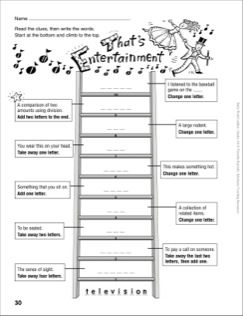 That's Entertainment Word Ladder (Grades 4-6) (With images