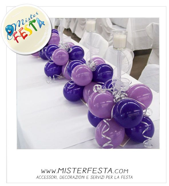 #palloncini #viola #lilla #lavanda per la tavola degli sposi