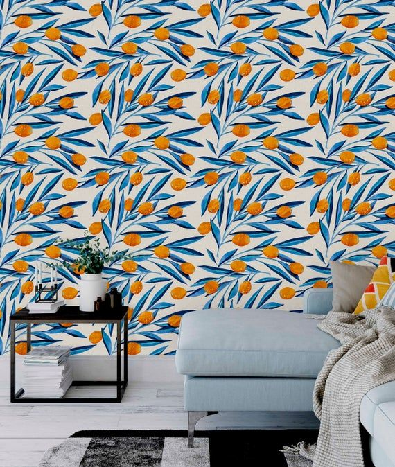 Orange And Blue Wallpaper Removable Peel Stick Wall Mural Etsy Blue Wallpapers Wall Murals Cleaning Walls