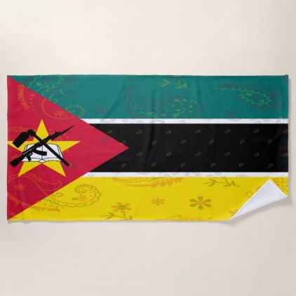 Mozambique Flag Beach Towel - home gifts ideas decor special unique custom individual customized individualized