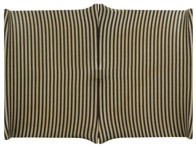 Enrico Castellani - Superficie Rigata Bianca E Blu, 1963. Polyvinyl acetate glue on canvas, 127 x 165.1 cm, 50 x 65 in