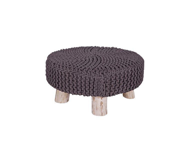 WOOOD Lynn poef kruk tafel grijs gebreid Ø 65 - Grijs