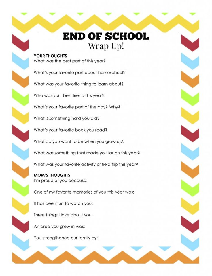End of School Wrap Up... A Fun Questionnaire to Remember Their Year!