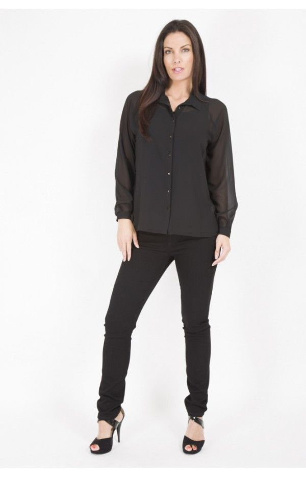 PERUZZI LONG SLEEVE GOLD BUTTON AND BACK DETAIL BLOUSE