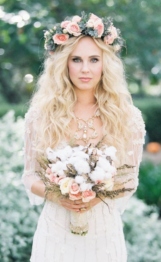 long wedding hairstyle with flower crown via Braedon Photography - Deer Pearl Flowers / http://www.deerpearlflowers.com/wedding-hairstyle-inspiration/long-wedding-hairstyle-with-flower-crown-via-braedon-photography/