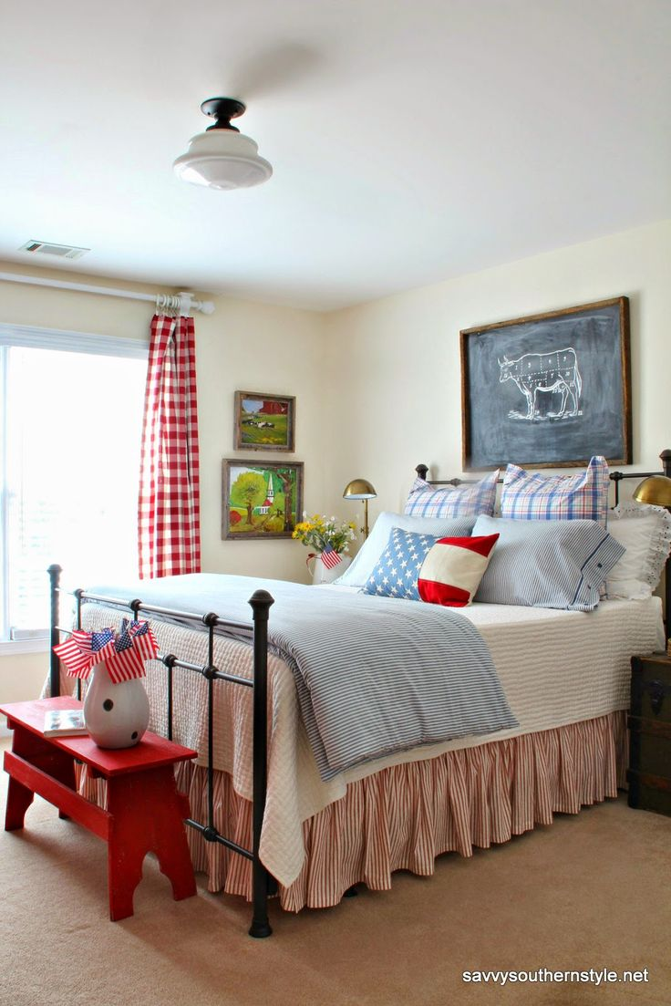 Savvy Southern Style Patriotic guest room. Pottery Barn bedding, Ikea bedding, Pottery Barn pillow cover, farmhouse style, red white and blue.