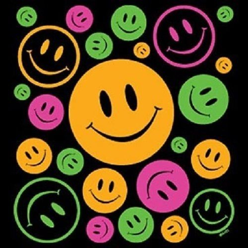 Happy Smiley Face HEAT PRESS TRANSFER for T Shirt Tote Sweatshirt Fabric #710b #AB