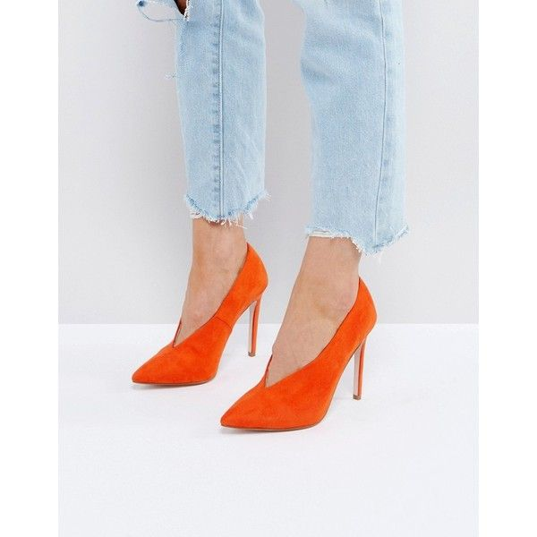 ASOS PRIORITY High Heels (61 CAD) ❤ liked on Polyvore featuring shoes, pumps, orange, prom pumps, orange pumps, slip-on shoes, orange high heel shoes and high heel shoes
