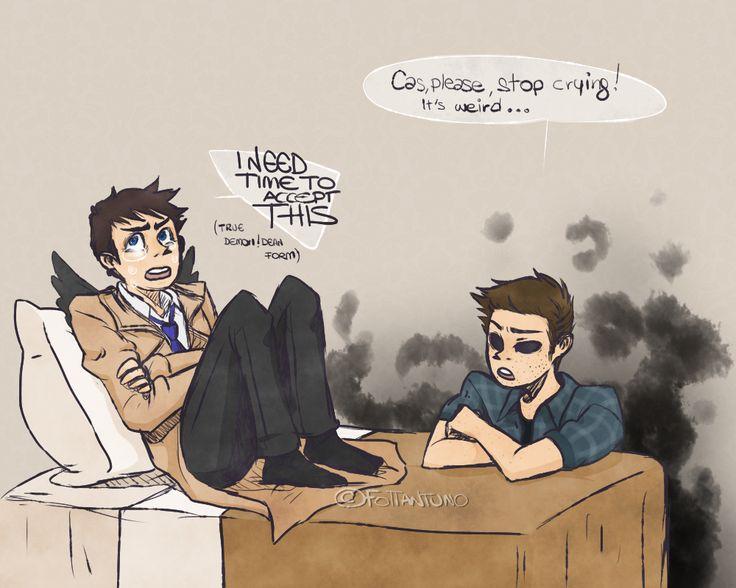 Dean:Cas, Please, stop crying! Es raro ... / Cas: Necesito tiempo para aceptar esto ( La forma verdadera de Dean demonio ) /// Destiel *0*