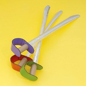 Your little musketeers will love these simple and sturdy cardboard swords.