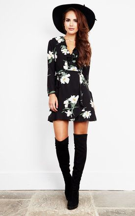 In a happy floral print, this dress will look stunning styled with sandals, killer heels or over the knee boots.