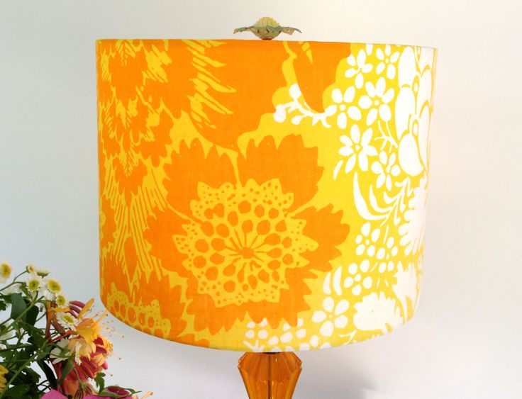 Orange Drum Lamp Shade Marimekko Lampshade Vintage Fabric Mod Lampshade - 10