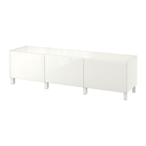 BESTÅ Kommode - hvit/Selsviken høyglanset/hvit, skuffeskinne, lukkes mykt - IKEA