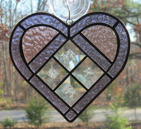 Stained Glass Suncatcher Heart in Light by CartersStainedGlass, $24.95
