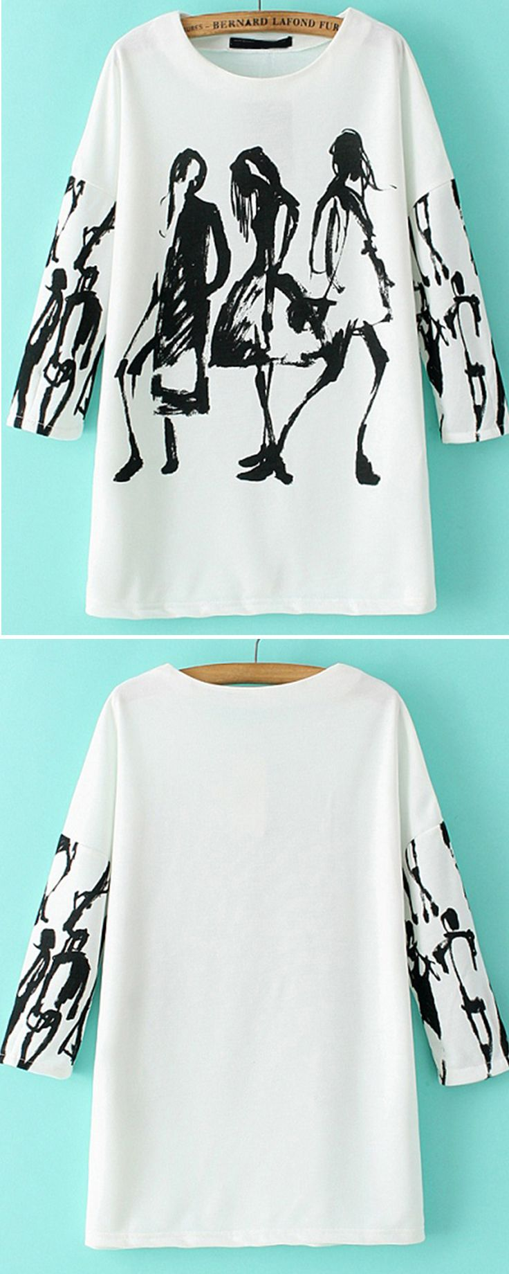 A White Long Sleeve Loose Blouse. This blouse featured in creative graffiti print, oversize style and super soft cotton blends.Pretty perfect for any occasion!
