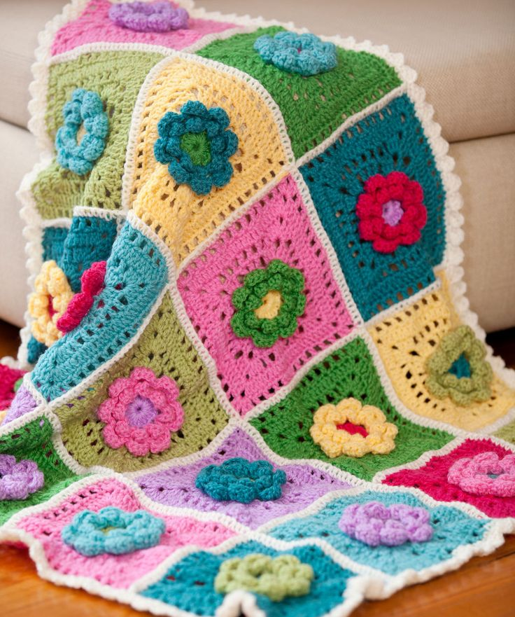 Flower Throw Free Crochet Pattern From Red Heart Yarns Pakbit For
