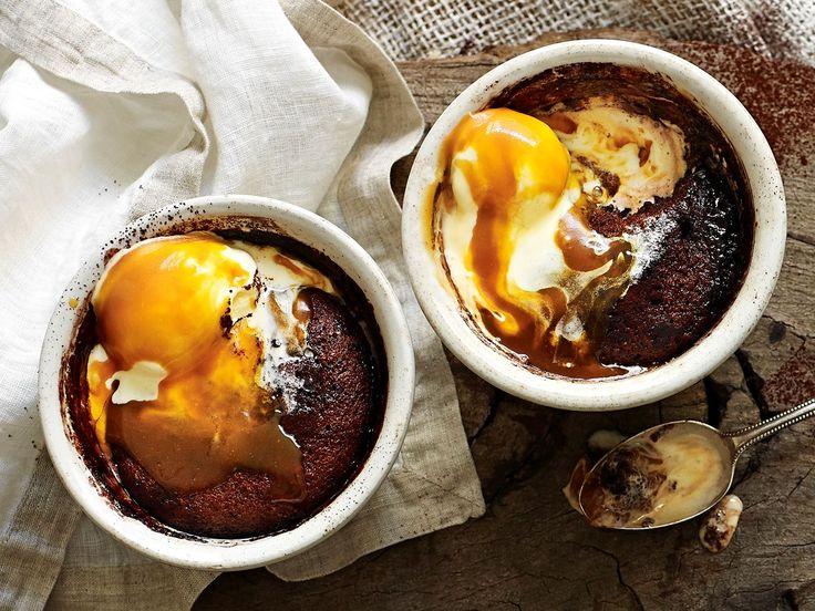 [Chocolate and caramel self-saucing puddings…
