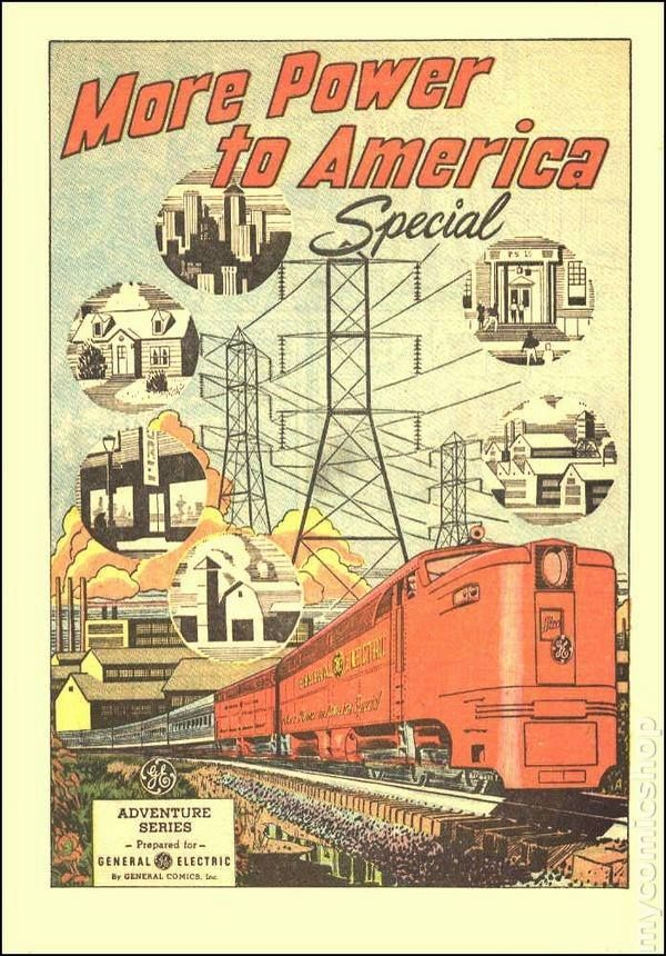 G.E Adventures in Science comics series (1940's-60's). https://www.mycomicshop.com/search?SeriesID=2541 https://www.google.co.uk/search?q=G.E+Adventures+in+Science+comics+series+(1940's-60's)&biw=1366&bih=599&source=lnms&tbm=isch&sa=X&ei=nxocVdKDM8WsUYPvgfAJ&ved=0CAYQ_AUoAQ&dpr=1